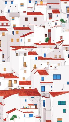 Interpretation of the town of Casares in Andalucia, Spain. Building Illustration, House Illustration, Graphic Design Illustration, Graphic Design Pattern, City Buildings, Cool Wallpaper, Architecture, Cute Wallpapers, Home Art