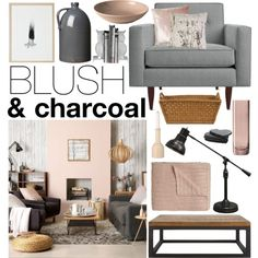 Blush & Charcoal by emmy on Polyvore featuring interior, interiors, interior design, home, home decor, interior decorating, Royal Doulton, Inspire, Crate and Barrel and Jayson Home