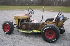 Gokart Plans 696158054874984762 - The Diesel Weasel Mow-Cart is Home-Built Rat Rod Mayhem – Hot Rod Network Source by Rat Rod Cars, Hot Rod Trucks, Pedal Cars, Custom Rat Rods, Custom Cars, Soap Box Cars, Homemade Go Kart, Go Kart Plans, Radio Flyer Wagons