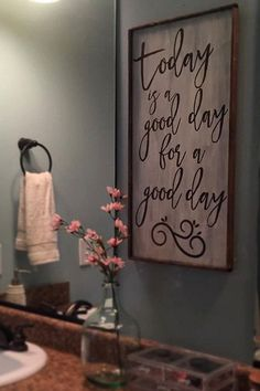 Today is a good day for a good day This wood sign is perfect for any room in your home! Hand Painted and made in Harlem, GA. Font is available in brown (like pictured) or black. Please indicate in the note to seller your choice in font color. If your choi Living Room Designs, Living Room Decor, Diy Casa, Best Decor, Home And Deco, Diy Signs, Wooden Signs, Rustic Signs, Home Projects