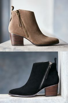 34c586efdc56 Taupe and black suede ankle booties with asymmetrical zippers