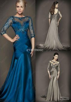 Wholesale Evening Dress - Buy Elegant Blue Jewel Chiffon Beaded Mermaid Prom Dress Custom-made Backless Long Evening Dress with Three Quarter Sleeves Mother Gowns, $147.73 | DHgate