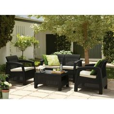 Garden Furniture Homebase panama rattan effect 6 seater garden furniture set - home delivery