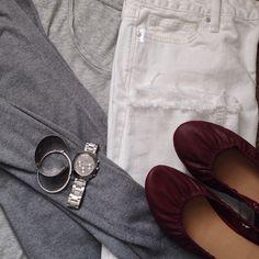 Instagram @headedoutthedoor #ootd | #loftgirl t-shirt | #oldnavy boyfriend sweater and flats | #gap jeans | #katespade watch