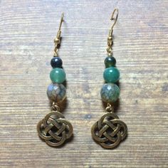 Green drop earrings.