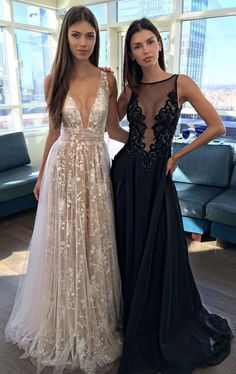prom dresses,deep v-neck prom dress,A Line Prom Gown,lace prom dress,prom dress long,sexy prom dress