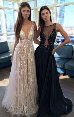 prom dresses,deep v-neck prom dress,A Line Prom Gown,lace prom dress,prom dress long,sexy prom dress