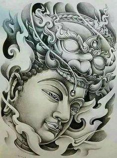 Khmer Tattoo, C Tattoo, Sak Yant Tattoo, Demon Tattoo, Thai Tattoo, Buddha Tattoo Design, Buddha Tattoos, Half Sleeve Tattoos Designs, Tattoo Designs
