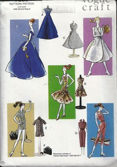 Vogue 7536 Fashion Doll Wardrobe Clothes 1958 Styles : Vintage Sewing Patterns, Heavens To Betsy Barbie Sewing Patterns, Doll Dress Patterns, Vintage Dress Patterns, Vogue Patterns, Vintage Barbie, Vintage Sewing, Doll Wardrobe, Free Clothes, Sewing Clothes
