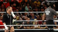 Roman Reigns and Dolph Ziggler cracking up after R-Truth forgot he's not in the MITB Ladder Match