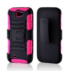 Black/ Pink Rubberized Hard Cover On Silicone Case w/ Stand & Holster Stand w/ Swivel Belt Clip for Samsung Galaxy Note 2 I have this one I purple from eBay for 10.00 bucks