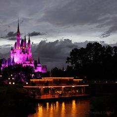 This is such a magical evening view of Cinderella's Castle.   The Gazebo by the water was originally a boat dock for the Swan Boat ride around the moat of the castle.