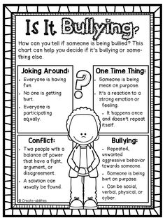 bullying poster and activity set. SO needed this year! I love how it includes cyber bullying! $