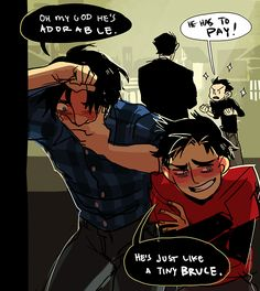 BAT FAMILY Dick Grayson in blue, Tim Drake in red and Damion screaming about revenge. Bruce is just looking on...