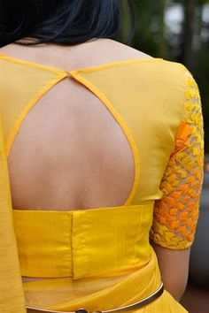 Yellow sheer and threadwork boatneck