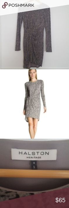 "Halston Heritage Gray Snakeskin Print Jersey Dress Halston Heritage dress from Nordstrom. Asymmetrical draped gray snakeskin print long sleeve dress. Flattering fit for work or after work! The half midi body of the dress is lined and the sleeves are not. 95% polyester and 5% spandex. 39"" length. Size 4. Halston Heritage Dresses Long Sleeve"