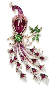 Ruby, Sapphire, and Emerald Diamond Peacock Brooch