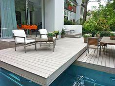 Terrasse Ideen   Bildschönes Beispiel Mit Mehreren Ebenen Der Terrasse  Steingrauen WPC Terrassendielen Von MYDECK