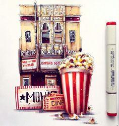 Друзья, расскажите, на какой фильм вы последний раз ходили в кино? Что из свежих лент вам понравилось, а что вовсе нет? ___________ Иллюстрация от @lera_kiryakova ________________ Творческая рубрика #одинденьсхудожником . Ставь хэштег☝, и самое интересное с удовольствием опубликуем! Только свежие работы . #копик #иллюстрация #маркеры #скетчинг #скетчбук #скетч #copic