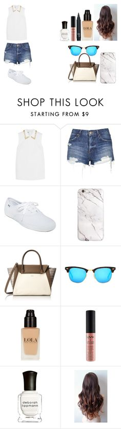 """Untitled #468"" by kalieh092 on Polyvore featuring Miu Miu, Topshop, Keds, Vince Camuto, Ray-Ban, NYX, Deborah Lippmann, women's clothing, women's fashion and women"
