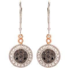 Two Tone Black & White Diamond Lever Back Earrings pb68331:100:P
