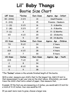 Lil' Baby Thangs Baby Sewing Patterns, Knit Fabric and Notions: Baby and Children's Shoe Size Chart