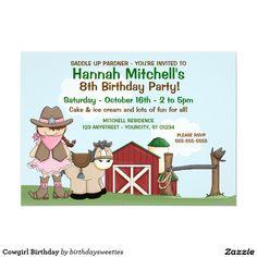 Cowgirl Birthday 5x7 Paper Invitation Card | horse, pony, barn