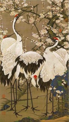 scroll plum blossoms and cranes 2