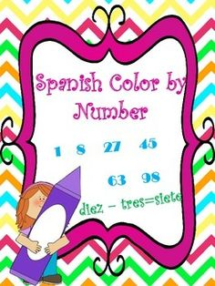 Spanish Color by Number 1-20, 1-100 Worksheets for students to practice numbers and colors