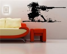 Wall Mural Vinyl Decal Stickers Anime Girl with Rifle GUN Shots >>> Click image for more details. Wall Stickers, Vinyl Decals, Ammo Storage, Wall Murals, Trigger Finger, Shots, Guns, Anime, Amazon