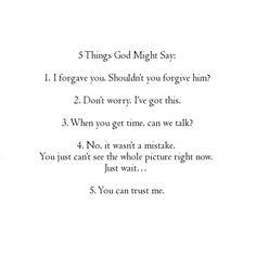 5 things God might say