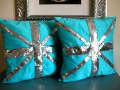 A modern Union Jack Cushion Cover in silk shantung and sequins. This pillow cover makes  a wonderful housewarming gift and will complement a living room or bedroom.