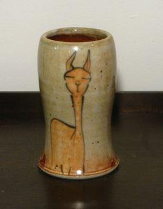 Llama and Bird Tumbler, by Patty Bilbro, Foxfire pottery