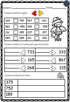 Colección de fichas comparamos números - Imagenes Educativas Place Value Worksheets, Math Place Value, Place Values, 2nd Grade Class, 1st Grade Math, Go Math, Math For Kids, I Love Math, Math Intervention