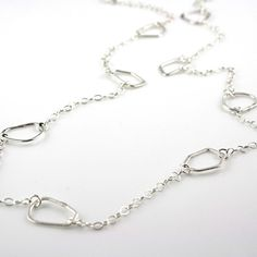 Long Sterling Silver Organic Link and Delicate Chain Necklace