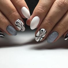 white nails with rhinestones nail art designs for winter 2020 floral nails Winter Nails 2017, Cute Nail Art Designs, Gelish Nails, Super Nails, Beautiful Nail Art, Perfect Nails, Trendy Nails, White Nails, Nail Arts