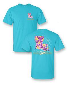 Sassy Frass Home Sweet Home Louisiana LA Fleur De Lis State Design Girlie Bright T Shirt