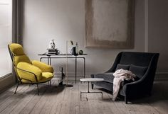 Beautiful moody living room decoration with gray color room, polished floor, yellow and black color sofa chair with beautiful accents & accessories. It's a modern and classic moody living room decoration idea. Home Interior, Interior Architecture, Interior And Exterior, Interior Decorating, Yellow Interior, Scandinavian Interior, Interior Design Inspiration, Room Inspiration, Interiores Design