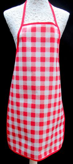 Red Gingham APRON / Pinny PVC/OILCLOTH - Lightweight - Wipeclean - Craft - Cooking - Baking, etc by hurdygurdystore on Etsy