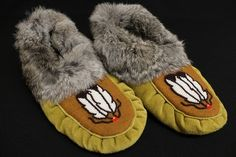 Unisex Moose Hide and Grey Rabbit Fur Moccasins. #Comfort #NDN