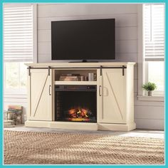 Home Decorators Collection Chestnut Hill 56 in. TV Stand Electric Fireplace with Sliding Barn Door in Rustic - The Home Depot, Fireplace Tv, Family Room Design, Tv Stand Designs, Diy Fireplace, Farmhouse Tv Stand, Fireplace Tv Stand, Tv Stand Wood, Fireplace Decor, Fireplace Inserts
