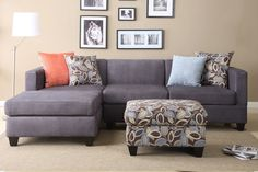 Amazon.com - Florence Sectional Sofa in Microfiber Finish with ottoman and free accent Pillows (Charcoal)