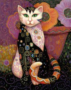 sort of klimt cat. I Love Cats, Crazy Cats, Cool Cats, Cat Embroidery, Subject Of Art, Frida Art, Cat Quilt, Cat Colors, Cat Drawing