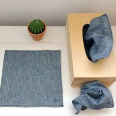 Chambray fabric handkerchief You are in the right place about Zero Waste beauty Here we offer you th Zero Waste, Reduce Waste, Kleenex Box, Reuse Recycle, Upcycle, Sewing Box, Green Life, Sustainable Living, Sustainable Gifts