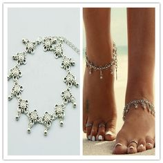 Fashion jewelry vintage foot jewelry silver plated flower chain anklet gift for women girl AN65