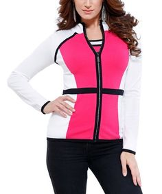 Look what I found on #zulily! White & Electric Pink Colorblock Tank & Zip-Up Jacket #zulilyfinds