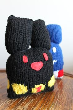 Black Widow inspired knitted bunny
