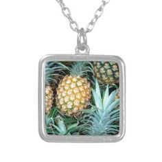 Tropical Pineapples Bunch Personalized Necklace