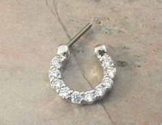 14 or 16 Gauge Crystal Daith Septum Nose Ring by MidnightsMojo