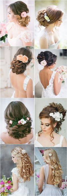 25 Romantic Long Wedding Hairstyles Using Flowers | http://www.deerpearlflowers.com/25-romantic-long-wedding-hairstyles-using-flowers/: